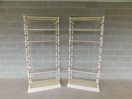 Lane Faux Bamboo Paint Decorated Etagere Display Shelves - a Pair