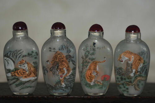 """4pc Chinese folk Inside painting """"Eight tiger Figure"""" glass snuff bottle"""