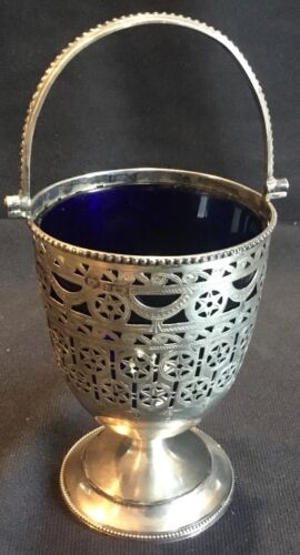 Antique Thomas Hayes Birmingham Reticulated Sterling Silver Basket Cobalt Glass
