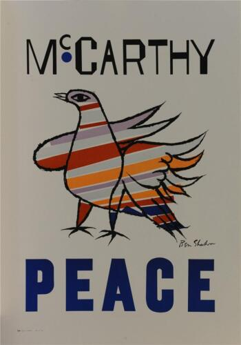 McCarthy Peace Vintage Poster Fine Art Lithograph Hand Pulled Ben Shahn COA S2