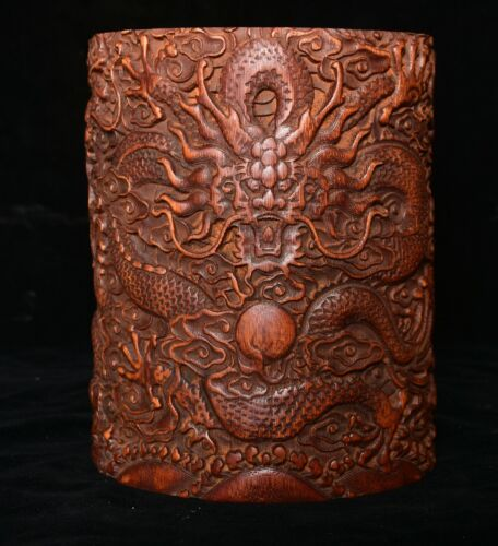 """6.6"""" Old Chinese Bamboo root Carving Dragon Beast Brush pot Pencil vase"""