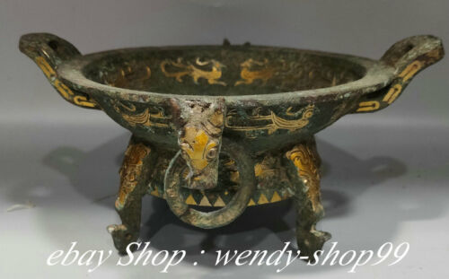 """9"""" Old Chinese Bronze Ware Gild Dynasty Palace Dragon Ear Word Plate Dish"""