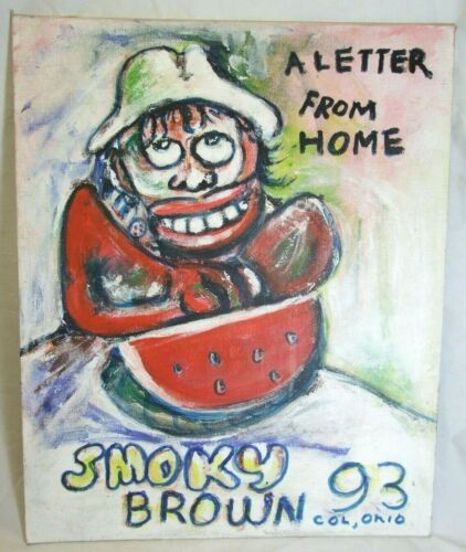 """Grandpa Smoky Brown Outsider Folk Art Painting 1993 Col Oh """"A Letter From Home"""""""