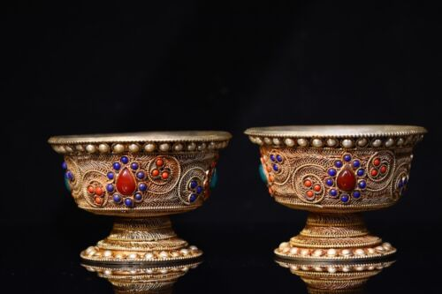 """4"""" China Buddhism Tibetan Silver Bowl Inlay gem Silver wire Bowl Cup"""