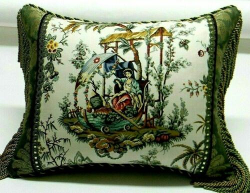 """Schumacher fabric """"Chinese Rustic"""" Chinoiserie Toile accent Pillow W/ insert"""