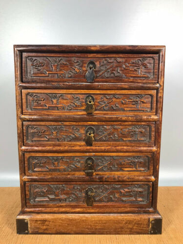 11.6'' Chinese Antique Wood cabinet natural Yellow rosewood storage box