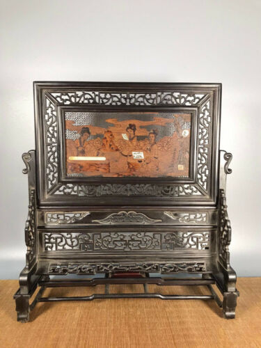 14.8'' Chinese Antique Wood screen natural Red sandalwood screen beauty