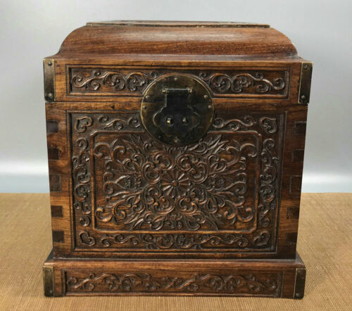 11.2'' Chinese Antique Wood Box natural Old Rosewood Box Jewelry Box