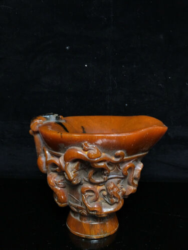 5.6'' China Antique Cup old ox horn Cup Wine Glass Dragon Wine vessels