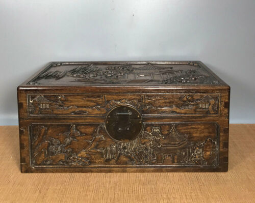 16' Chinese Antique Wood Box natural old Rosewood Box Jewelry Box landscape