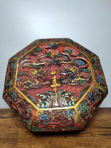 China Wood Lacquerware Coloured Drawing Dragon Loong Emboss Storage Jewelry Box