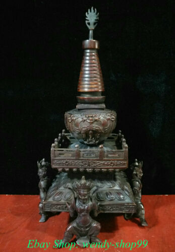 """16"""" Old Tibet Temple Red Bronze 4 Great Heavenly Kings Stupa Pagoda Tower Statue"""