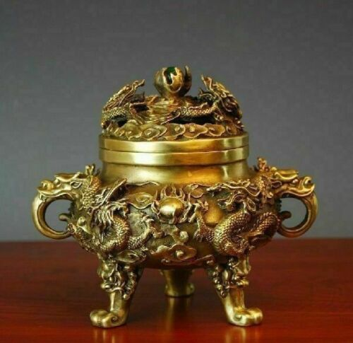 Collectible Chinese Ancient Style Brass Kowloon Incense Burner