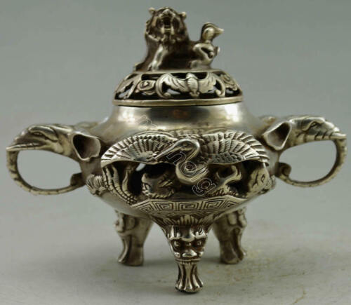 Collectible Old Tibet Silver Plate Crane Elephant Incense Burner