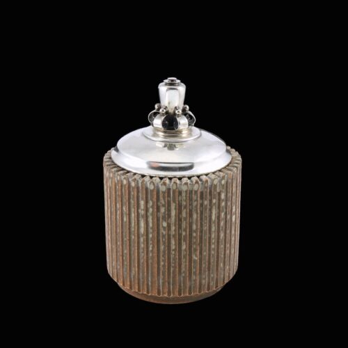 Arne Bang (1901 - 1983).  Fluted Stoneware Jar with Silver Lid.