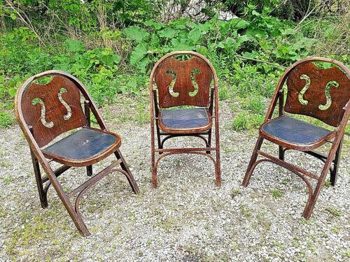Antique wedding concert theatre Wood folding chair decorative back 3 available