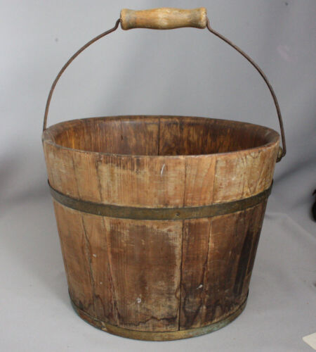 Antique Primitive OLD STAVED BUCKET PAIL Wooden Bail Handle Brass Metal Bands