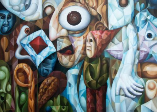 """The Mind (original painting by A. Lavrov 2021) 20""""x28"""" surreal, cubist, symbolic"""