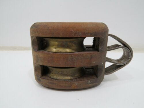 Antique 2+1/4 Wood & Bronze Ships Double Pulley (C4C597A)