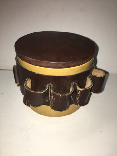 Vintage Made In England Tobacco Holder Canister With Leather Belt S 712