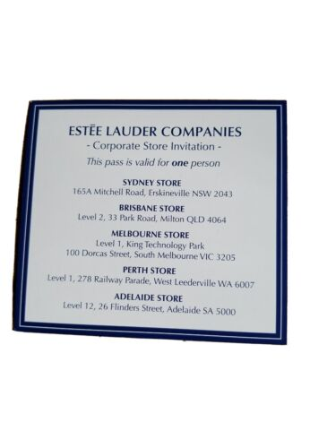 Estee lauder Corporate Store Invitation  <br/> One pass, must surrender in store, no expiry,