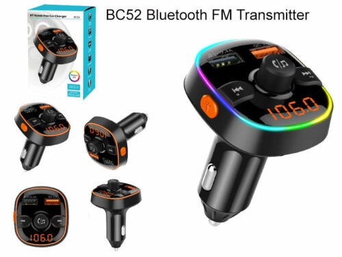 BC52 Handsfree-Wireless-Bluetooth-Car-FM-Transmitter MP3 Player USB Charger