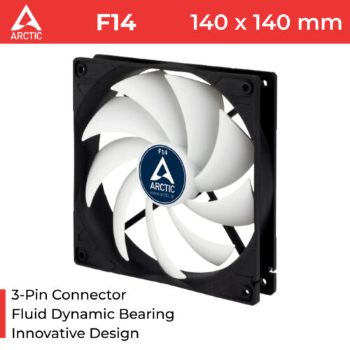 140mm Fan Case PC Silent Fluid Bearing Arctic Cooling AC-F14 3-Pin 14cm White