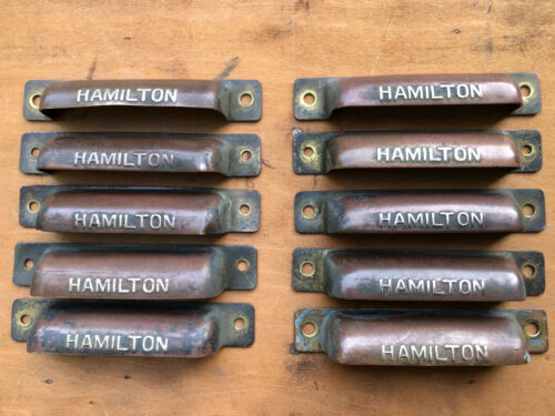 ONE Hamilton Antique printers type tray brass and/or copper HANDLE pull