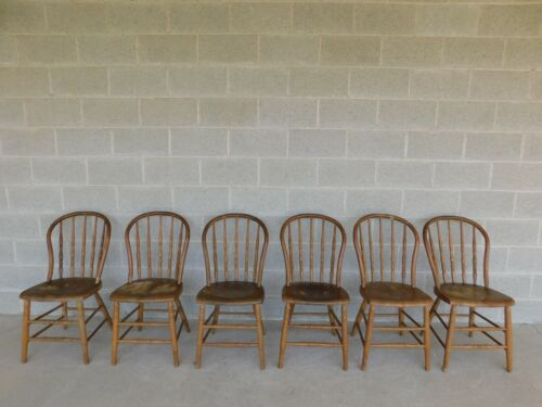 Antique Hoop Back Windsor Style Chairs - Set of 6