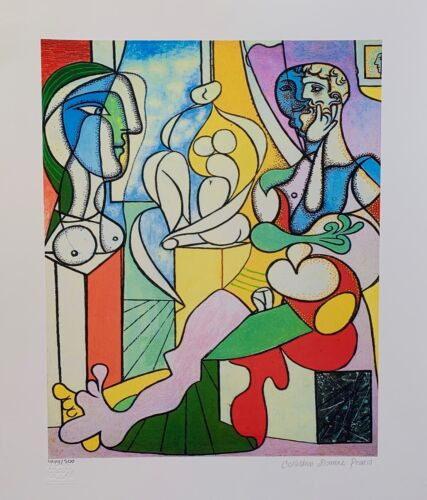 """Pablo Picasso ARTIST WITH SCULPTURE Estate Signed & Numbered Giclee Art 26"""" x20"""""""