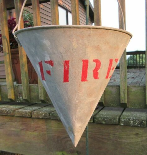 Vintage 1930's Wheeling Galvanized Conical Sand Fire Bucket Railroad Industrial
