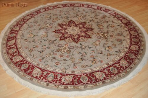 ON SALE WOOL & SILK rug 7x7 ft. Round rug Top quality siege green 200 Knots