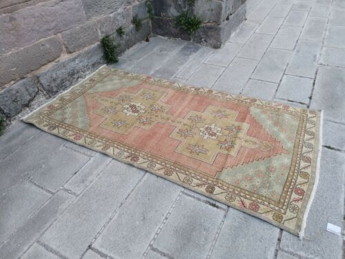 """Vintage Tribal Rug 8' x 4' 2"""" Red Low Pile Soft Red rug Hand-Knotted Antique Rug"""