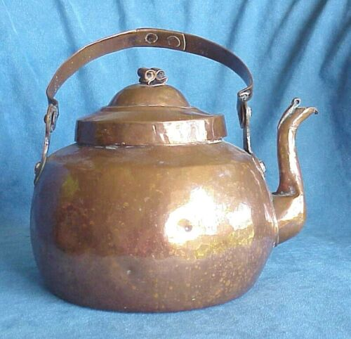 Large Antique 18th Century Georgian Copper Fireplace Riveted Handle Water Kettle