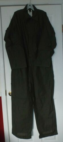 US MILITARY ARMY MEN'S OD GREEN COTTON SATEEN TYPE I COVERALLS SIZE X-LARGE NOS