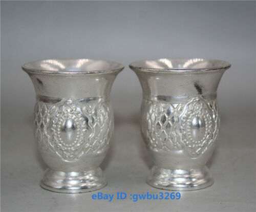 Collect Chinese Handwork Exquisite Tibetan silver wine glass Cup A pair