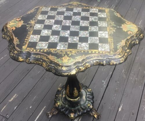 Gorgeous Antique Paper Mache Tilt Top Chess Game Table Mother of Pearl Gold Gilt