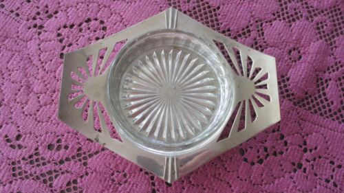 """Vintage depression Glass Butter / Jam Dish in  Silver Plate Carrier"""" Art Deco"""""""