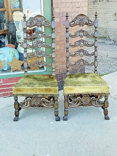 William & Mary Antique throne chair wood carved shell motif 2 available