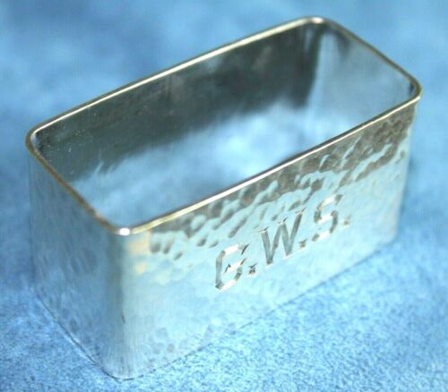 Antique Arts & Crafts Mission Hand Hammered Sterling Silver Marked Napkin Ring