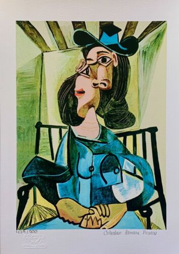 """Pablo Picasso SEATED WOMAN & HAT Estate Signed Stamped Numbered Giclee 17"""" x 11"""""""