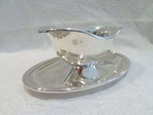 Vintage French silver-plated sauce boat with saucer Christofle Albi pattern