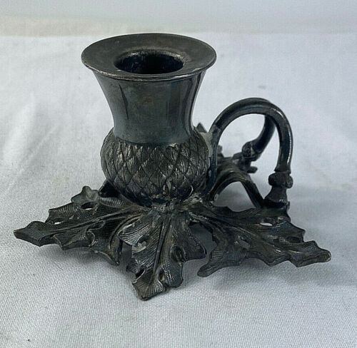 Antique James Dixon Silver Plated Figural Scottish Thistle Candle Holder 1890