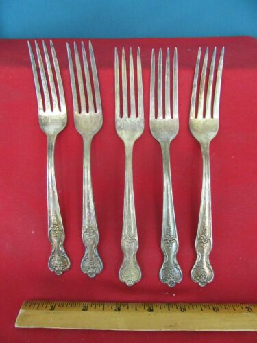 469. WM ROGERS MFG CO. Forks Set of 5  Magnolia Inspiration 1951 Extra Plate