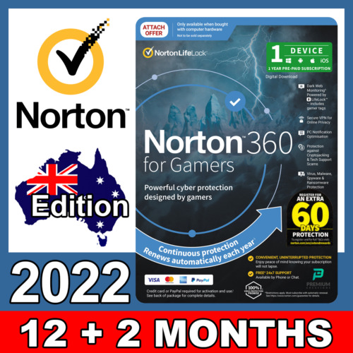 Norton 360 for Gamers Edition 1 Device 1 Year MAC, IOS, Android, PC, Product Key