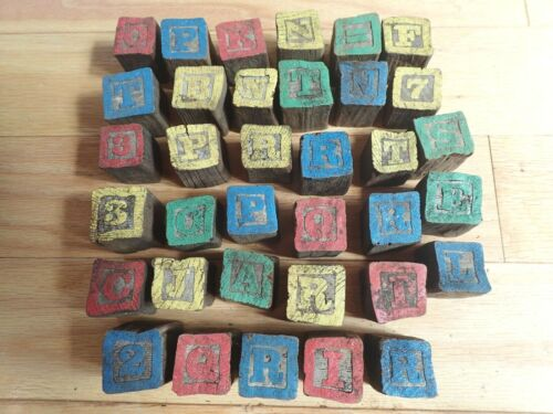 PRIMITIVE ANTIQUE LOT OF 35 HAND MADE CARVED WOOD WOODEN ABC ALPHABET BLOCKS