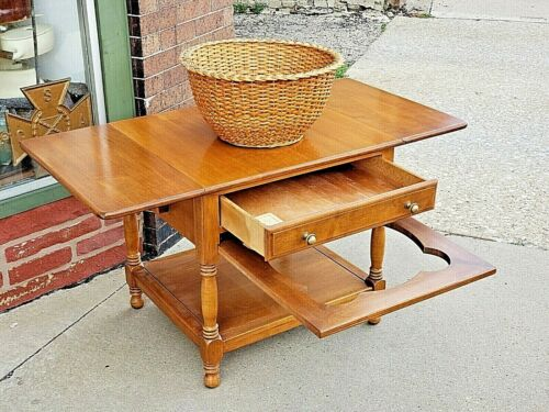 Rock Maple colonial double drop leaf sewing accent table + basket by Conant Ball