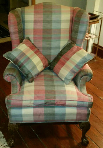 Vintage Multi Color High Back Lounge Chair w Hand Carved EAGLE Legs NICE