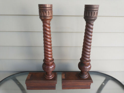 Pair Of Amazing Victorian Walnut Turned Spoon Carved Spiral Footed Columns Post