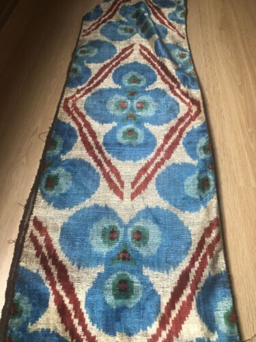 3 METERS HAND LOOMED SILK VELVET IKAT FABRIC W NATURAL DYES RARE PATTERN